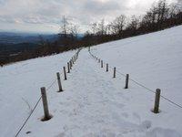 遊歩道、積雪20センチ程度